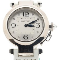 Cartier Pasha Lady's Solid 18k White Gold On Leather W/...