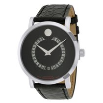 Movado 0606158 Red Label Animated Date Dial Leather Complete NEW