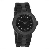 Movado Cerena Ladies Black Ceramic Diamond Swiss Quartz Watch...