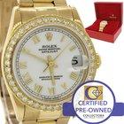 Rolex DateJust 18k Gold MidSize White Diamond Bezel 68278...