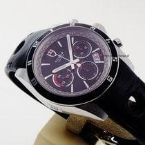 Tudor Grantour Chrono Black dial black leather strap