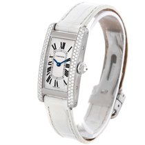 Cartier Tank Americaine 18k White Gold Diamond Watch Wb701851