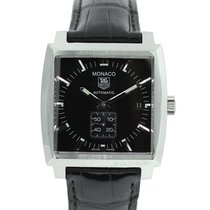 TAG Heuer Monaco WW2110 on Leather Black Dial Automatic Watch