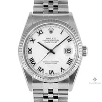 Rolex Datejust Stainless Steel White Roman Dial Fluted Bezel...