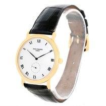 Patek Philippe Calatrava Porcelain Dial 18k Yellow Gold Watch...
