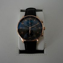 IWC Portuguese Rose Gold Grey Dial Chronograph Leather Automatic