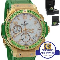 Hublot Big Bang Green Tutti Frutti 18k Gold Sapphire Watch...