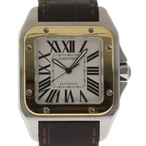 Cartier Santos 100 W20072X7 Brown Leather Steel Gold Box/Paper...