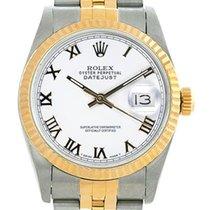 Rolex Women's Datejust Midsize Two Tone Fluted White Roman...