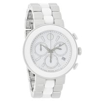 Movado Ladies Cerena White Date Dial Ceramic Chrono Swiss...