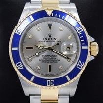 Rolex Submariner 16613 Two Tone 18k Y Gold/ss Serti Blue...