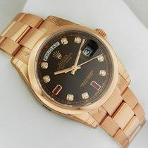 Rolex Day-Date Oyster RG 36mm 118205 Chocolate Diamond/Baguett...