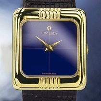 Omega Solid 18K Gold Manual Wind Dress Watch, Blue Dial