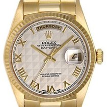 Rolex President Day-Date Men's 18k Watch 18038 Pyramid Roman