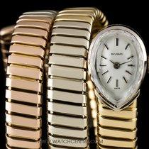 Bulgari Rare 18k Tri-Gold Silver Dial Vintage Tubogas Ladies