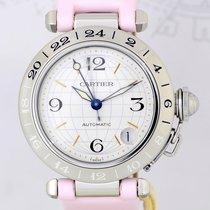 Cartier Pasha Date GMT Automatic Stahl Klassiker Luxusuhr Lady...