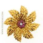 Tiffany 18k yellow gold flower pin