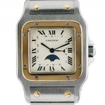 Cartier Santos GM großes Modell Zeiger Datum Mondphase Stahl...
