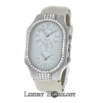Philip Stein Ladies  Teslar 2 Time Zone Steel Diamond MOP 32MM...