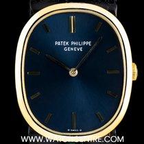 Patek Philippe 18k Yellow Gold Blue Baton Dial Ellipse Gents 3548