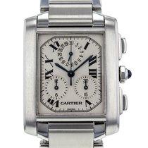 Cartier Tank Francaise Chronograph Stainless Steel Quartz Mens...