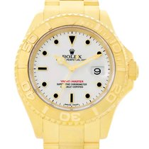 勞力士 (Rolex) Yachtmaster Mens 18k Yellow Gold White Dial Watch...