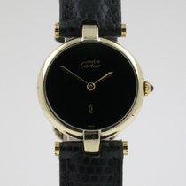 """Cartier """"Must de Vermeil Ronde"""" 24mm. case/black..."""