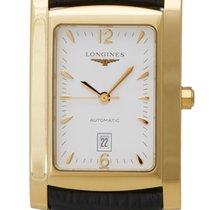 Longines Dolce Vita Automatic 18k Gold Mens Strap Watch...