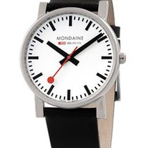 Mondaine Evo 38mm Watch - White Dial with Steel Case - Black...