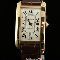 Cartier New Tank Americaine W2609856 Pink Gold Leather...