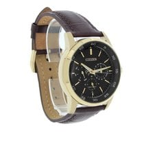 Citizen Eco-Drive Mens Day/Date Rose Gold Brown Strap Watch...