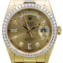 Rolex Day-Date President 18038 36mm Diamond Bezel 18k Yellow Gold
