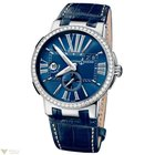 Ulysse Nardin Executive Dual Time Blue Diamonds Bezel Crocodil...