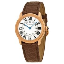 Cartier Ronde Solo De Cartier Silver Dial Brown Leather Ladies...