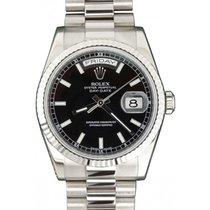 Rolex Day-Date 36 118239-BLKSP Black Index Fluted White Gold...