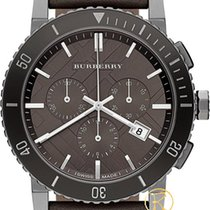 Burberry Men's Swiss Chronograph Gray Leather Strap Bu9384