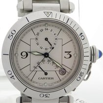 Cartier Pasha W310055 Gmt Power Reserve White Dial On Steel...