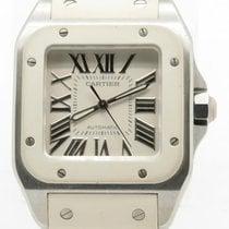 Cartier Santos 100 W20122u2 White Rubber Automatic Mid Size...