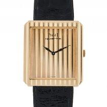 Piaget Protocole 18kt Gelbgold Quarz Armband Leder 27x25mm...