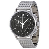 Movado Circa Chronograph Black Dial Stainless Steel Mesh Mens...