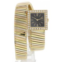 Bulgari Ladies  Serpenti 18k Tri Color Bangle SQ221T w/ Diamonds