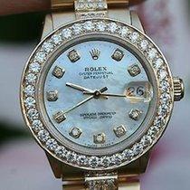 Rolex Midsize President 18k Yellow Gold Vintage Diamond Bezel...