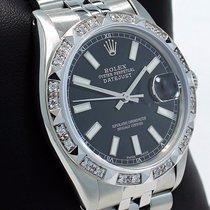 Rolex Datejust 16014 36mm Oyster Perpetual Diamond Bezel Black...