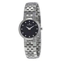 Movado Faceto Diamond Black Dial Stainless Steel Ladies Watch