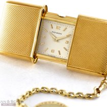 Movado ERMETO Travel Clock 14k Yellow Gold Bj-1954 with Gold...