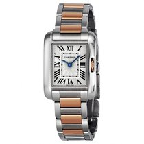 Cartier Tank Anglaise Silver Dial 18K/SS Rose Gold Stainless...