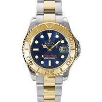 Rolex Yacht-Master 35 168623-BLU Blue White Dial Yellow Gold...
