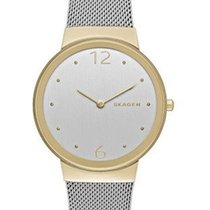 Skagen Womens Freja Watch - Gold-Tone Case - Mesh Band -...