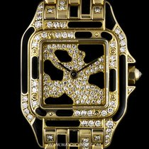 Cartier 18k Y/G Rare Diamond & Enamel Set Leopard Panthere...