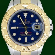 Rolex Yachtmaster 69623 18k Gold Steel Blue Dial Box&Papers